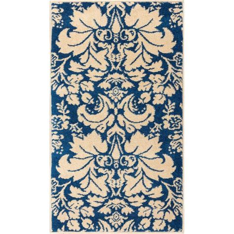 well woven sydney vintage sheffield blue 3 ft well woven sydney damask toile navy blue 2 ft 3 in x 3 ft 11 in transitional area rug 21143