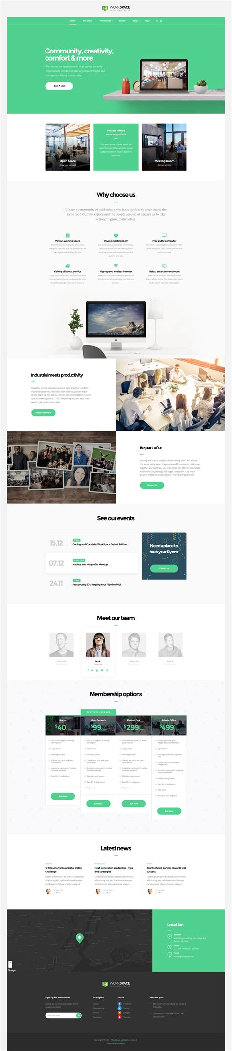 theme wordpress office workspace creative office space wordpress theme by opal
