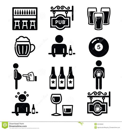 alcohol vector pub drinking alcohol beer belly icons set stock