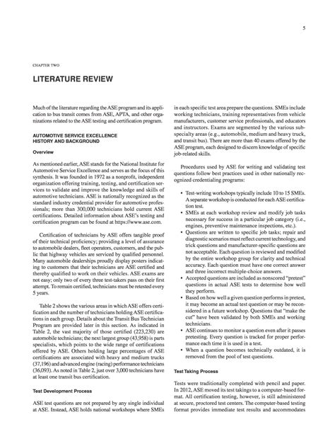 Literature Review Image Media by Chapter Two Literature Review Use Of Automotive Service Excellence Tests Within Transit