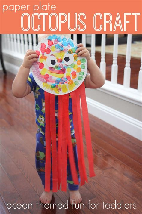 Paper Plate Octopus Craft - toddler approved week playful learning activities