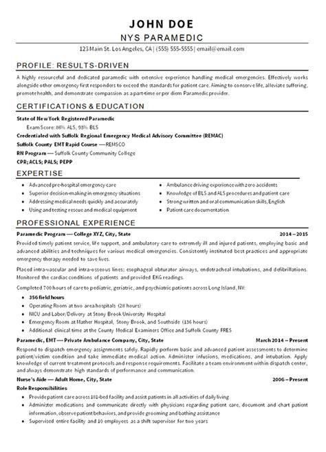 Emergency Resume by Emt Paramedic Resume Exle Sourceline