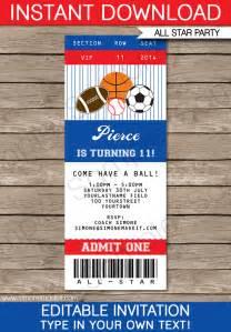 ticket invitation template all sports ticket invitations sports invitations