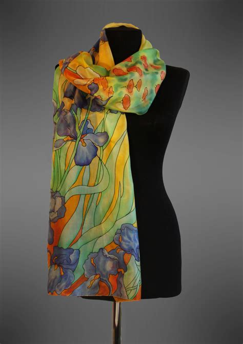 gogh irises silk scarf painted silk scarf