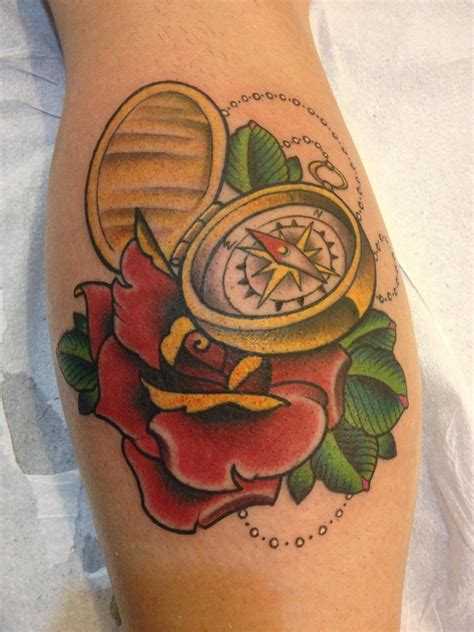 open rose tattoo compass tattoos