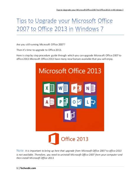 tips to upgrade your microsoft office 2007 to office 2013