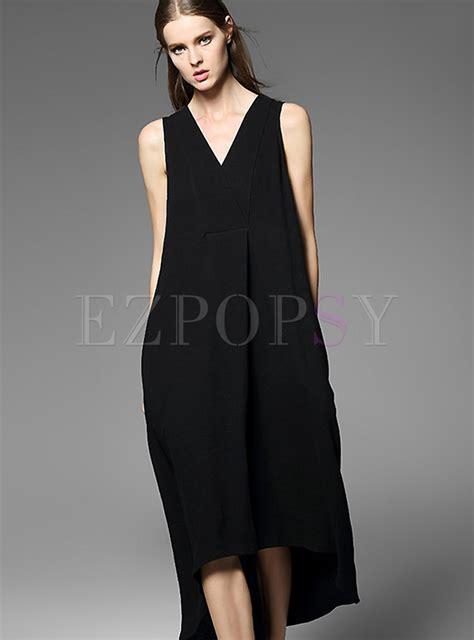 Asymmetric Shoulder Dress S M L 17712 v neck asymmetric black dress ezpopsy