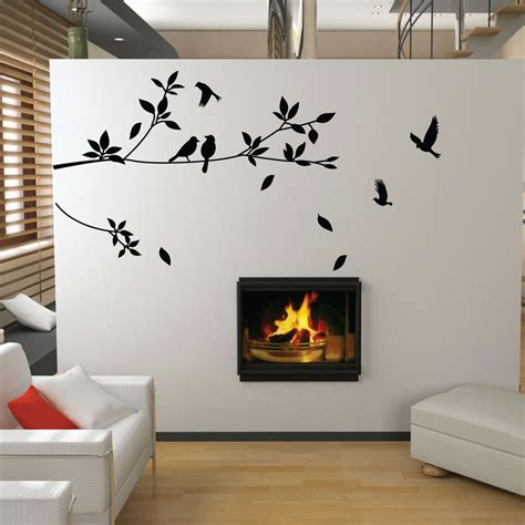 Bird Stickers For Walls tree and bird wall stickers vinyl art decals ebay