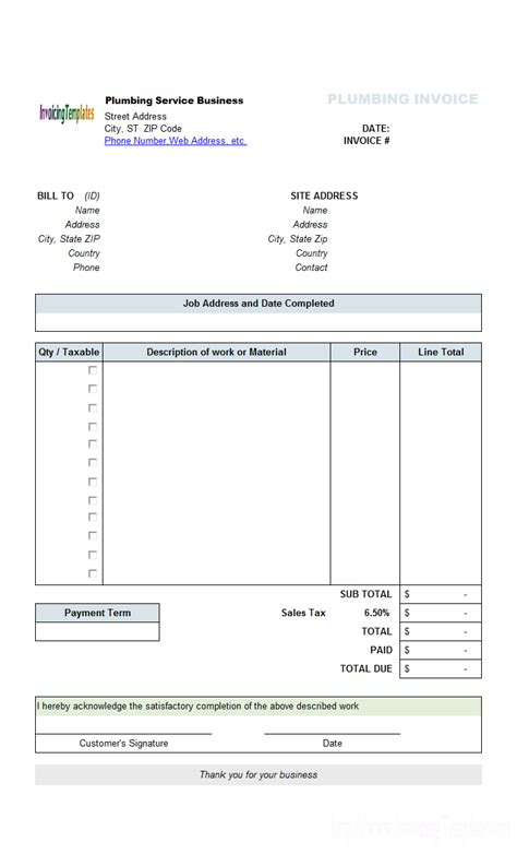 perfect sle of plumbing service billing invoice form