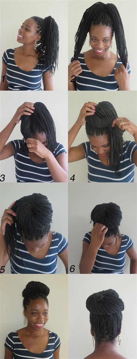 how to put long braids in a bun 10 instructions directing you on how to style box braids