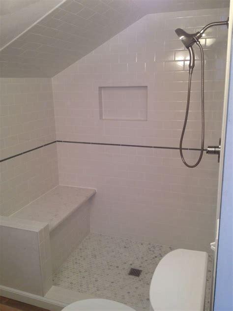 custom shower quartz bench subway tile marble hex  glass pencil built