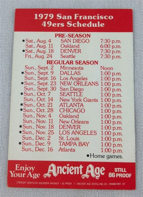 nfl schedule pocket printable 17 best ideas about san francisco 49ers schedule on