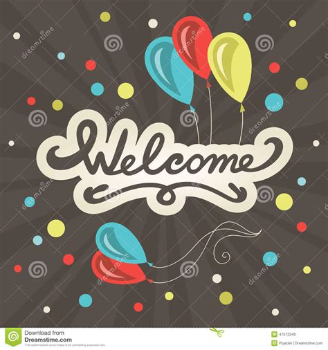 Welcome Card Design Template welcome lettering greeting card stock vector