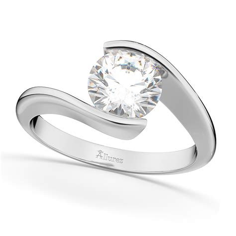 Tension Engagement Rings by Tension Set Solitaire Engagement Ring 14k White