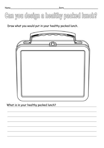 design a healthy menu ks1 design a healthy packed lunch by ruthbentham teaching