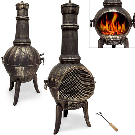 Chiminea And Bbq Grill Large Cast Iron Chiminea Barbecue Garden Patio Heater 112