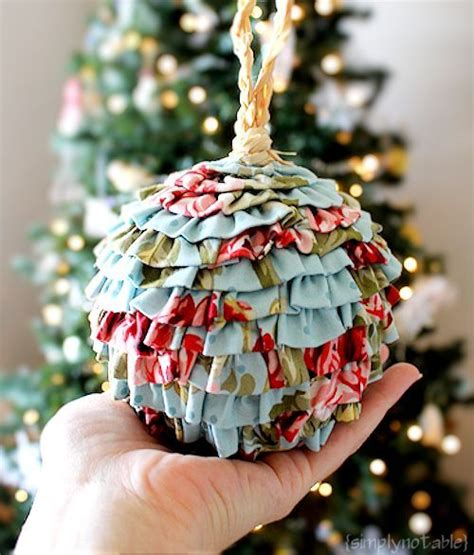 diy ruffled fabric christmas ornaments that s it my