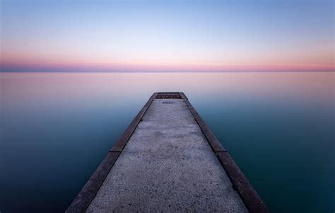 canada ontario lake pier night sky horizon hd wallpaper