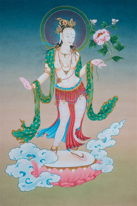 white in white tara in standing posture original thangka ioe dakini as