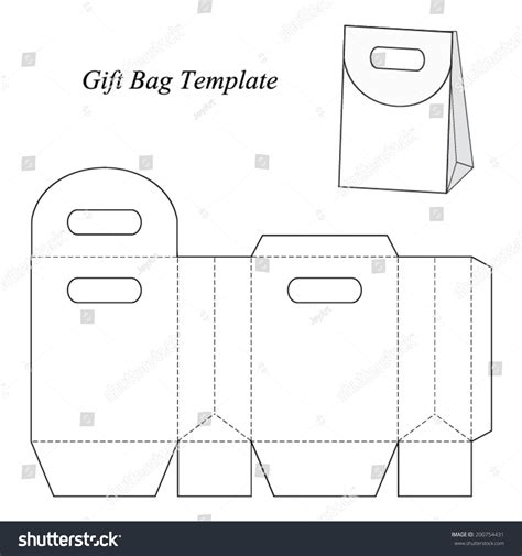 How To Make A Paper Gift Bag Templates - gift bag template lid vector stock vector 200754431
