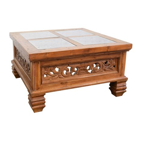 Carved Coffee Table 77 Teak Carved Coffee Table With Glass Top Tables