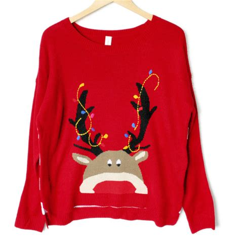 lightweight hi lo peeping rudolph tacky ugly christmas