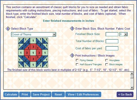 Quilt Backing Fabric Calculator by Quilting Math Buddy Screen