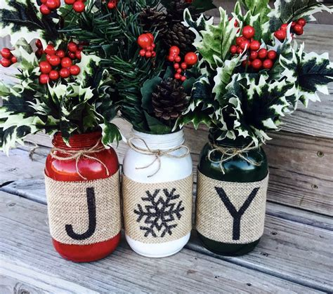 christmas holiday burlap mason jars set of 3 burlap