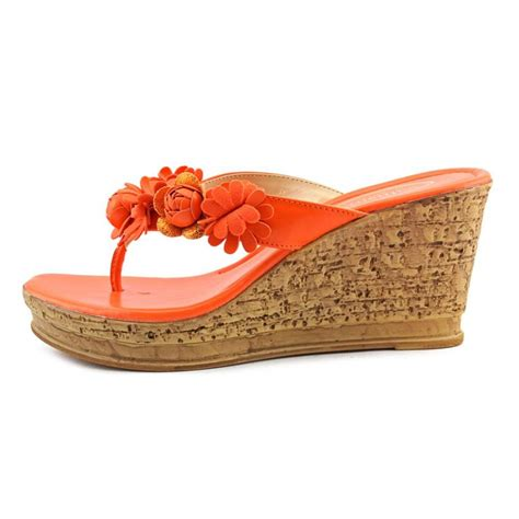 orange wedge sandals callisto flora faux leather orange wedge sandal wedges