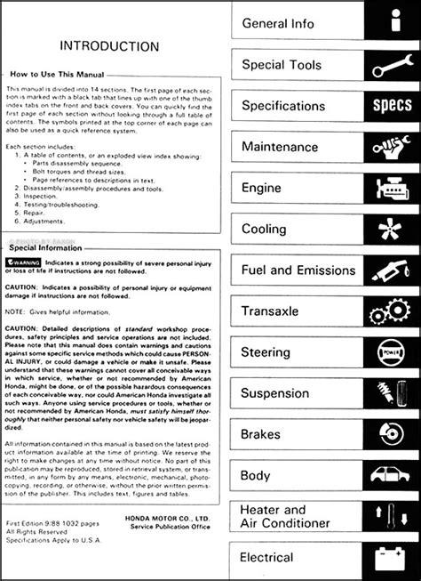 vehicle repair manual 1983 honda accord user handbook 1989 honda accord repair shop manual original
