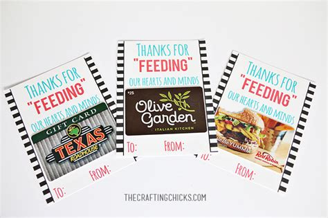 printable gift cards restaurants teacher gifts the crafting chicks