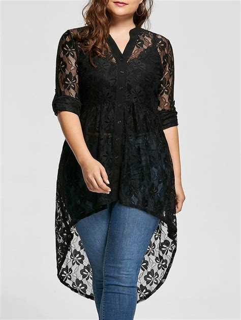 Lace Tops Black Size 18 black xl high low lace sleeve plus size top rosegal