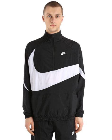nike logo waveguide lyst nike vaporwave swoosh woven track jacket in black