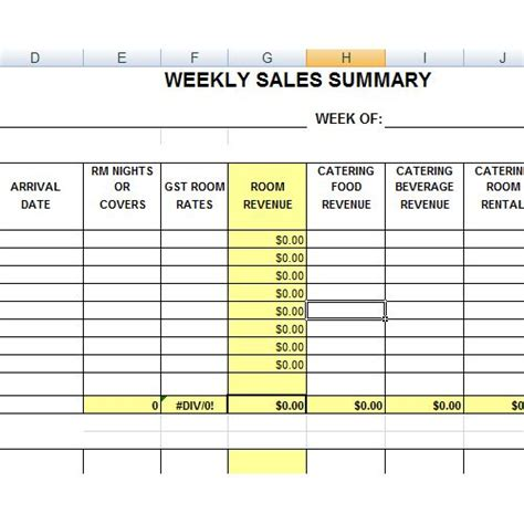 hotel sales summary excel pinterest planner template