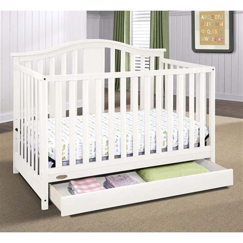 Graco Solano 4 In 1 Convertible Crib With Drawer In White White Convertible Crib With Drawer