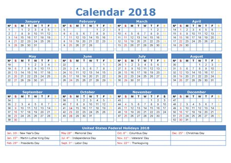 2018 calendar pdf word excel download printable