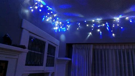 blue bedroom lights christmas lights around room christmas decorating
