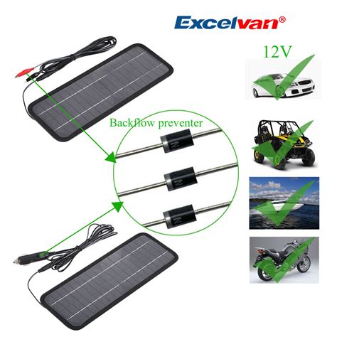 12v backflow diode portable 12v 4 5w solar panal power bank battery charger for car boat motorcycle ebay
