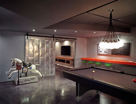 large basement modern with wall mounted tv top game tables