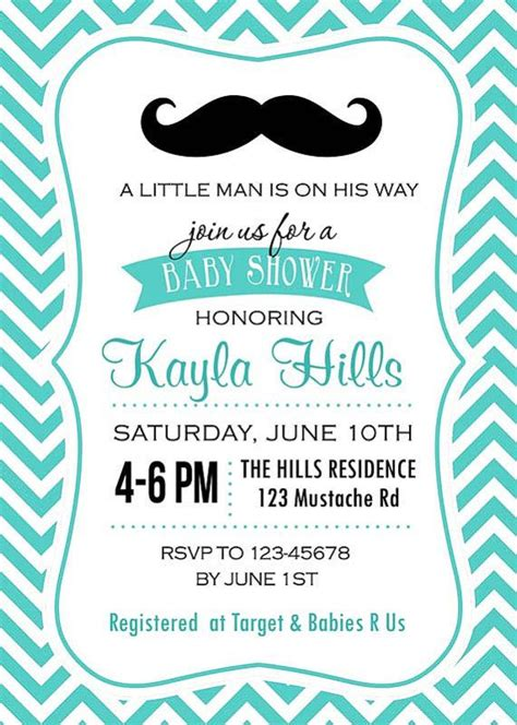 mustache baby shower invitation printable in blue by