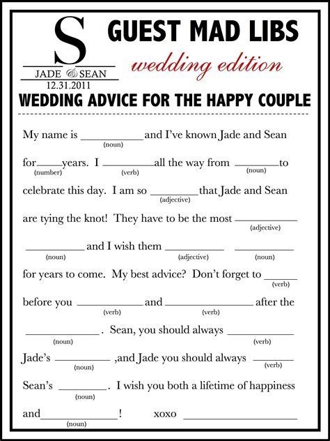 wedding mad libs template free fun unique guest book