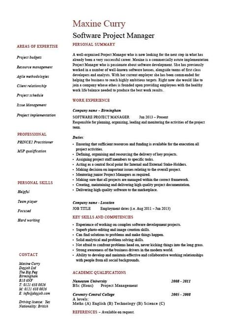 software project manager resume exle sle fixing
