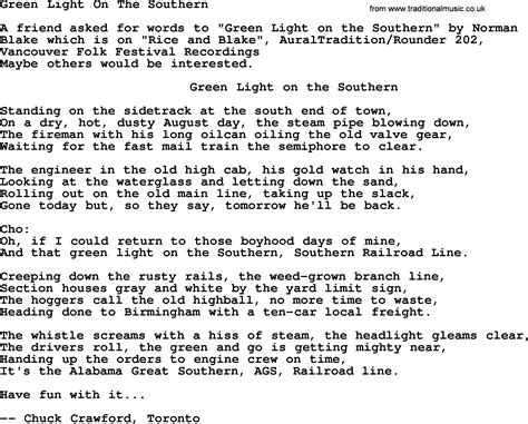 Song Light Green Light On The Southern Bluegrass Lyrics With Chords