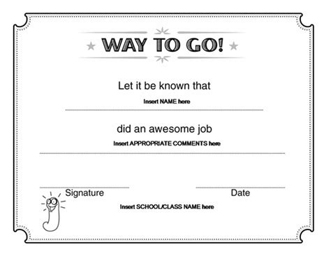 Way To Go Award Certificate Microsoft Word Award Certificates Ready Made Office Templates Microsoft Word Award Template