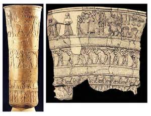 Uruk Vase Presentation Of Offerings To Inanna Vase From Sumerian