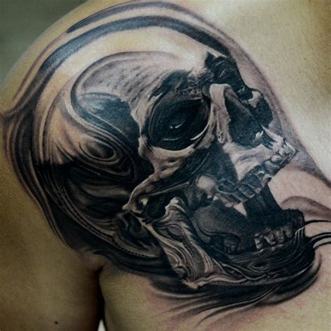 dark water tattoos texture skull on shoulder and chest by jose perez jr