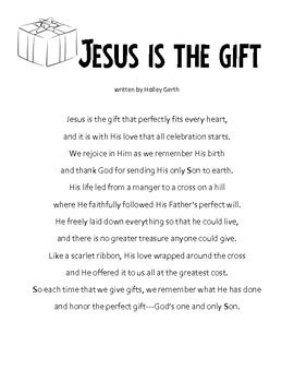 christmas writing activity my gift to jesus letters to