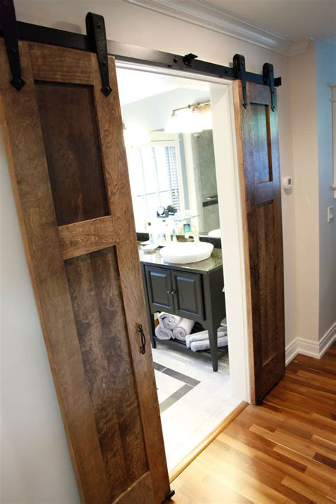 bathroom barn door bedroom farmhouse with attic ceiling