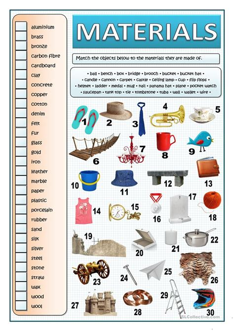 exercises with keys free english materials for you what are things made of materials worksheet free esl