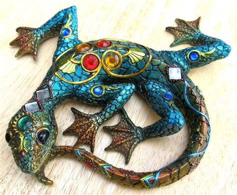 Import Home Decor blue lizard mosaic wall art with jewels amp mirrors home